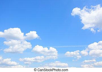 ljusblå, sky, och, skyn