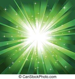 ljusgrönt, stjärnor, stickande, brista