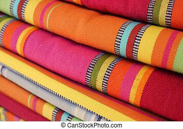 ljust, marknaden, färgad, textilvaror