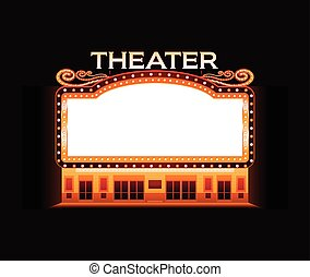 ljust, teater, bio, neon signera, glödande, retro