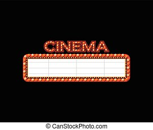 ljust, teater, glödande, retro, bio, neon signera