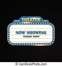 ljust, teater, guld, bio, neon signera, glödande, retro