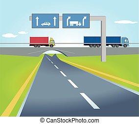 LKW Wegweiser.eps - Highway with traffic signs