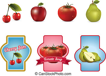 Llabels with fruits