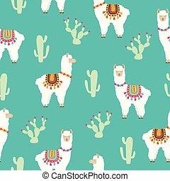 Llama Alpaca and cactus seamless pattern - White llama ...