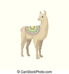 Llama alpaca animal in ornamented poncho vector Illustration...