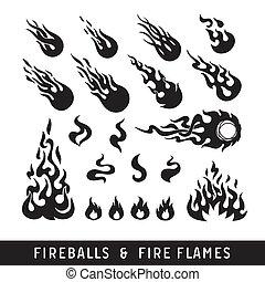 llama, bolas de fuego, silueta, iconos