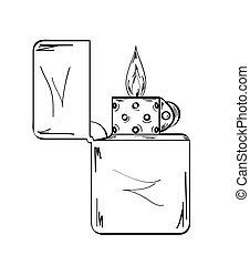 llama, bosquejo, encendedor