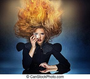 llama, corte de pelo, de, un, atractivo, dama