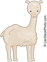 Llama - Illustration of a Cute Llama Smiling Contentedly
