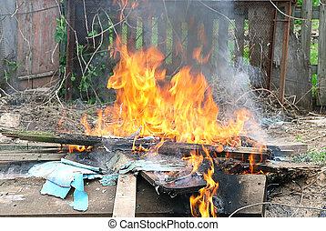 llama, fuego, ilegal, quemadura, en, ciudad