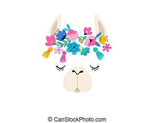 Llama illustration, cute hand drawn elements and design for ...