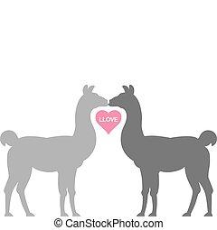 Llama Llove - Two Llamas kiss in silhouette, their necks...