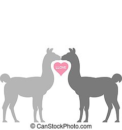 Llama Llove - Two Llamas kiss in silhouette, their necks...