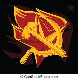 llama, martillo, estrella, hoz