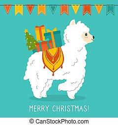 Llama or alpaca christmas greeting card vector