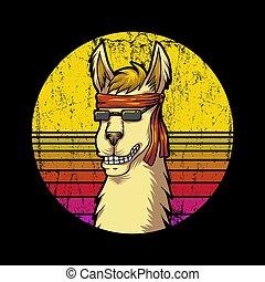 llama Retro sunrise Vector illustration for your company or ...
