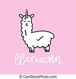 Llama unicorn inspirational poster with llama and stars