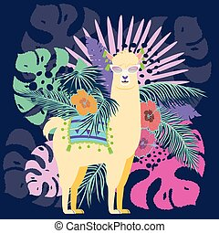 Llama with exotic leaves and flowers - Floral banner with ...