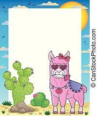 Llama with love glasses theme frame 1