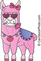 Llama with love glasses theme image 1