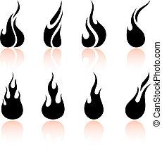 llama, y, fuego