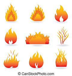 llama, y, fuego, símbolos