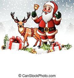 llamar campana, claus, plano de fondo, santa, navidad