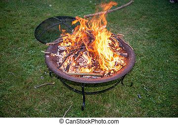 llamas, en, un, jardín, fuego, hoyo