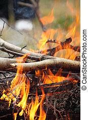 llamas, fuego, asado a la parilla, campfire, hoguera, filete...