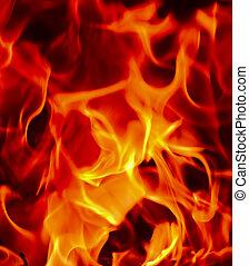 llamas, fuego, de, infierno