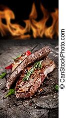llamas, plano de fondo, carne de vaca, filetes, madera,...