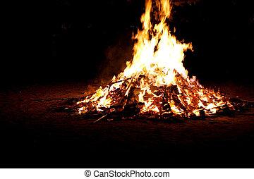 llamas, plano de fondo, hoguera