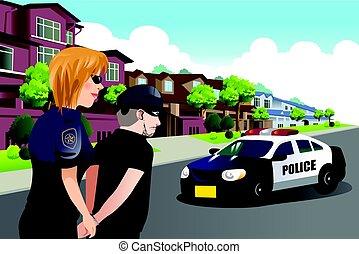 llamativo, criminal, mujer policía