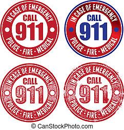 llame 911, para, policía, fuego, y, médico
