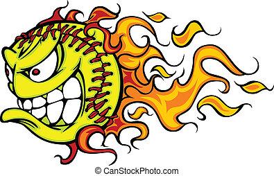 llameante, caricatura, vector, sofbol, cara, fastpitch