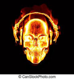 llameante, cráneo, auriculares