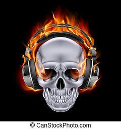 llameante, cráneo, headphones.