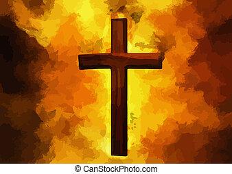 llameante, cristiano, cruz, art(vector)