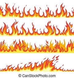 llameante, inflamable, fuego, temperatura, papel pintado, gas, seamless, patrón, caricatura, caliente, vector, incendio, fuegos, textured, marcos, línea, flame., arder