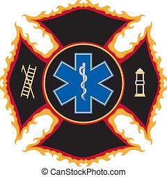 llameante, rescate fuego, símbolo