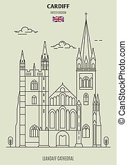 Llandaff Cathedral in Cardiff, UK. Landmark icon in linear style