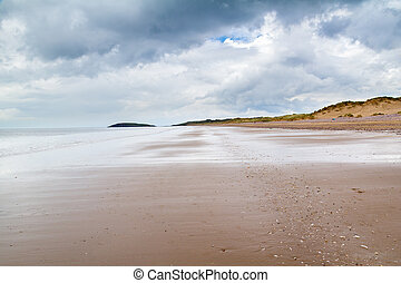 llangennith, playa, gales