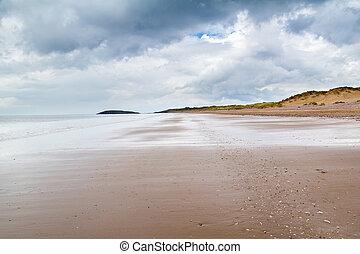 llangennith, playa, gales