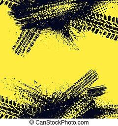 llanta azul, pista, amarillo, fondo oscuro