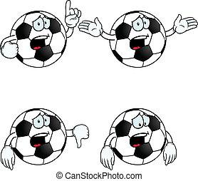 llanto, caricatura, fútbol, conjunto