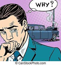 llantos, accidente, hombre, coche