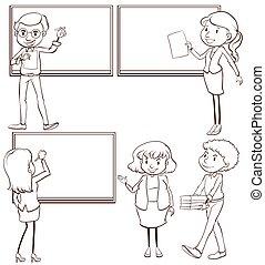 llanura, dibujos, profesores, aula