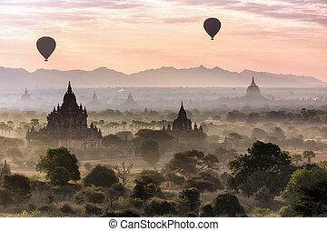 llanura, globos, pagodas, bagan