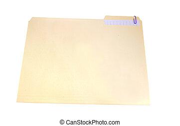 llanura, vainilla, carpeta, con, paperclip, y, unido, papel, aislado, blanco, con, ruta de recorte